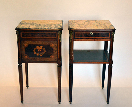 Lot 463: Pair turn cent Louis XVI marble top side tables.