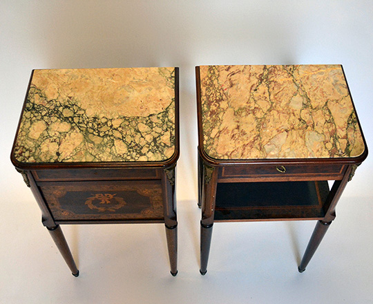 Lot 463_1: Pair turn cent Louis XVI marble top side tables.
