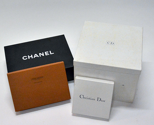 Lot 470: Various boxes including Chanel,Christian Dior and Louis Vitton.