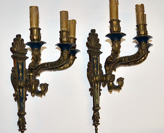 Lot 483_1: Early cent Empire stylegilt bronze three light wall sconces. tot.H 39cm.