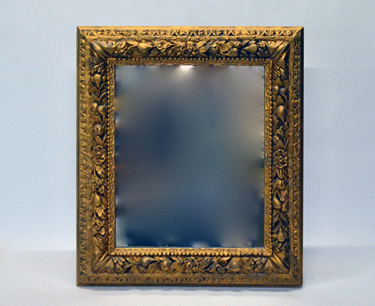 Lot 491: 19th cent gold painted ornated frame mirror. H103 x W90cm.