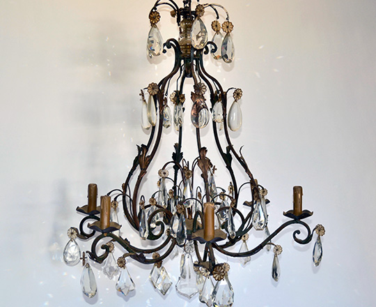 Lot 493: Large (19th ?) ,early cent forged iron six light crystal 'cage' chandelier.
