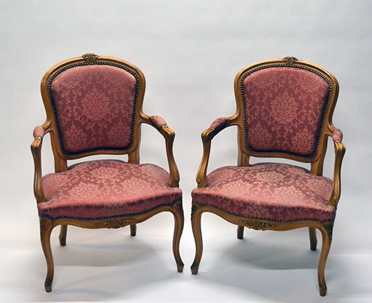 Lot 495: Pair Louis XV style, silk? Covered armchairs (stain on one).