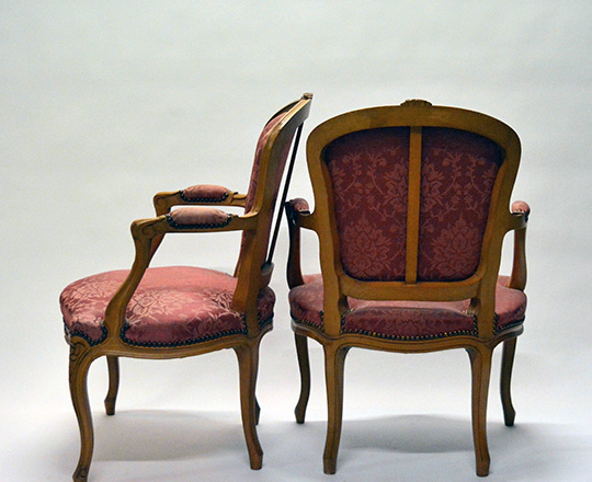 Lot 495_1: Pair Louis XV style, silk? Covered armchairs (stain on one).