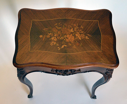 Lot 496_1: 19th cent Louis XV rosewood 'necessaire' floral marquetry table.