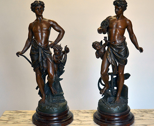 Lot 497_2: Turn cent bronze wash spelter statue of man representing 'Agriculture'. H62cm