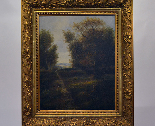 Lot 501: 19th cent Oil on canvas with country landscape in a gilt gesso frame. Tot. H71 x W60cm.