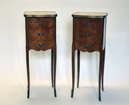 Lot 505: Pair early cent Louis XV three drawer, marble top side tables. H72xW28xD26cm.