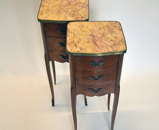 Lot 505_1: Pair early cent Louis XV three drawer, marble top side tables. H72xW28xD26cm.