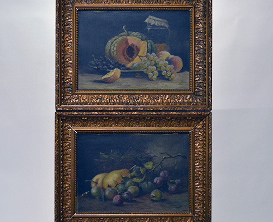 Lot 516: Two 19th cent still oil paintings (fruits) on canvas with a gilt painted gesso frame. H49,5 x W63cm.