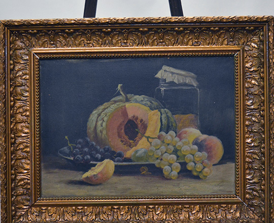 Lot 516_2: Two 19th cent still oil paintings (fruits) on canvas with a gilt painted gesso frame. H49,5 x W63cm.