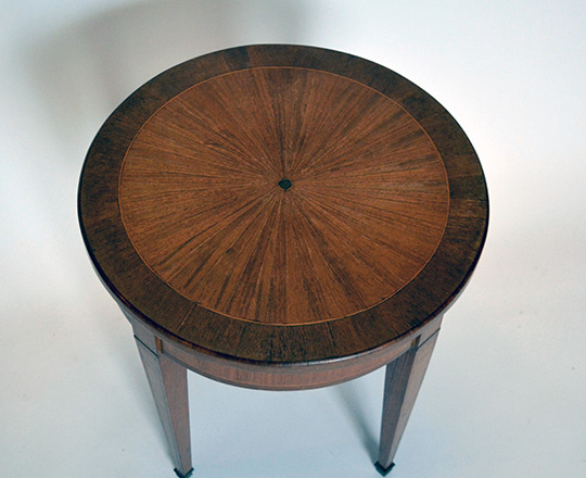 Lot 520_1:  Small Louis XVI rose wood sun burst marquetry top round table. H48,5 x dia.45cm.