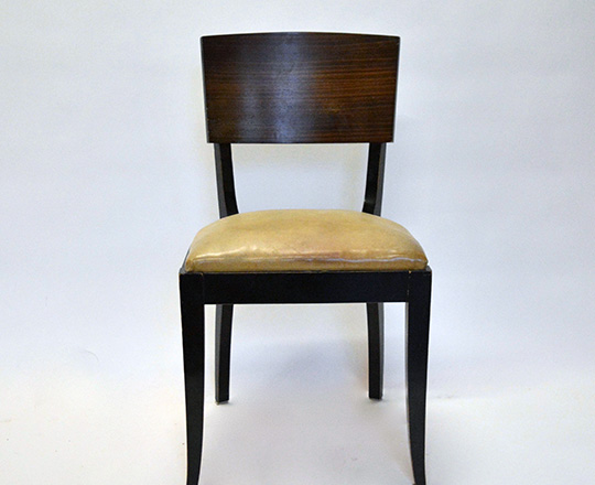 Lot 523_1: Set of six black laquered Art Deco leather covered seat chairs with Macassar ebony back.