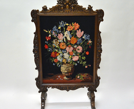 Lot 526: Richly carved turn cent Louis XV walnut fire screen with fine floral needle point tapestry. H119 x W72cm.