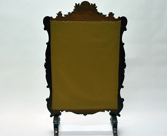 Lot 526_1: Richly carved turn cent Louis XV walnut fire screen with fine floral needle point tapestry. H119 x W72cm.