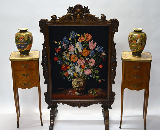 Lot 526_2: Richly carved turn cent Louis XV walnut fire screen with fine floral needle point tapestry. H119 x W72cm.