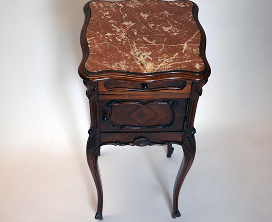 Lot 534_1: 19th cent Louis XV red marble top rosewood  side table. 85 x40 x 40cm.