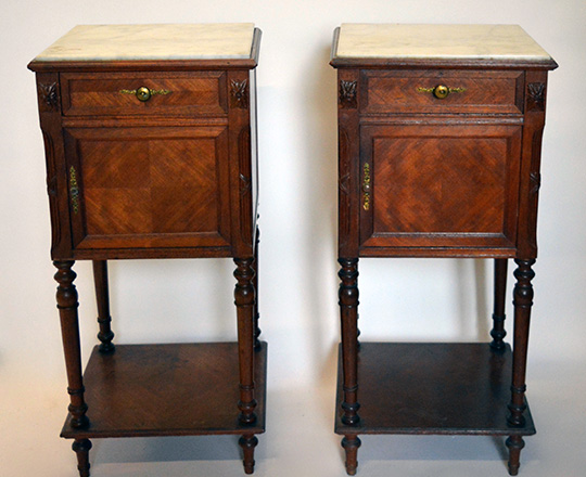 Lot 535: Pair 19th cent Louis XVI marble top side tables. H85xW40xD40cm.