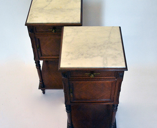 Lot 535_1: Pair 19th cent Louis XVI marble top side tables. H85xW40xD40cm.